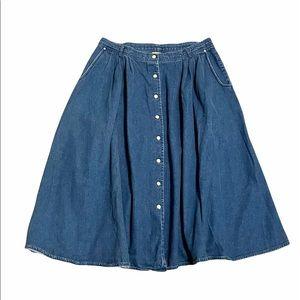 Vtg LIZ MOODY Snap Button Front Denim Jean Skirt